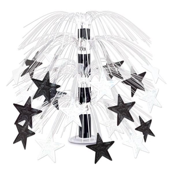 Party-Extra Große Tischkaskade Black + White Stars