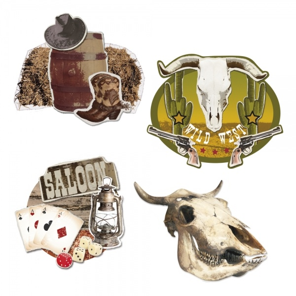 Party-Extra Cutout Set Western Frontier, 4-teilig