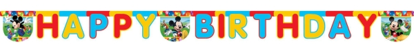 Happy Birthday-Girlande Mickey Maus, 2m lang