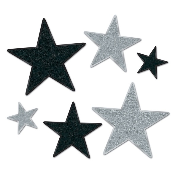 Silver Starlight Folienstern Cutout Sets - Silvester Deko