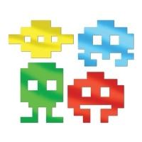 Cutout Set 80er Jahre 8-bit Videospiel, 4er Pack