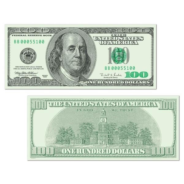 Party-Extra Cutout Dekoschild US Dollars - Vorder- + Rueckseite
