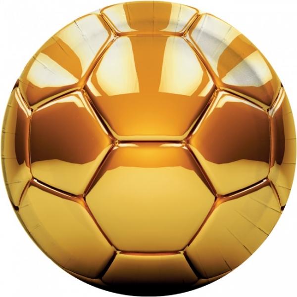 Pappteller Goldener Fussball - Fussballparty Tischdeko