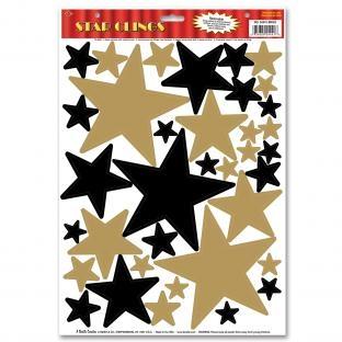 Dekofolie Goldene + Schwarze Sterne, 36er Pack