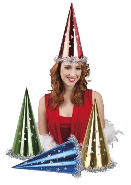 Festival Party-Hüte - Metallic-Farben mit silberne Sterne