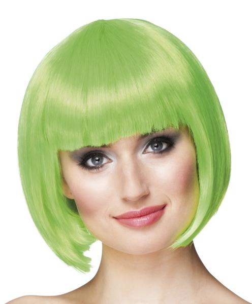Perücke Cabaret, grün, Frontansicht - Faschingsdeko