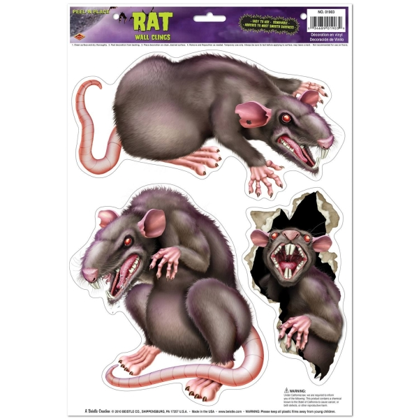 Party-Extra Folienaufkleber Horror Ratten, 3er Set