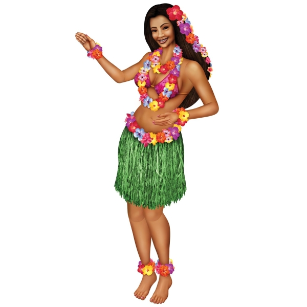Riesen Cutout-Figur Exotische Tänzerin - Hawaii Party Deko