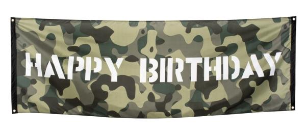 Riesen Stoff-Banner Happy Birthday - Army Party Deko