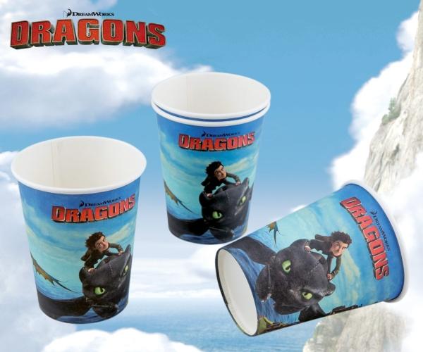 Pappbecher Dragons, 8er Pack