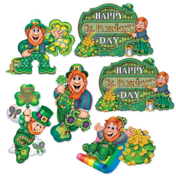 Cutout-Set Lustige Leprechauns - Irland Deko
