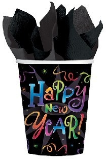Party-Extra Pappbecher Happy New Year, 8er Pack