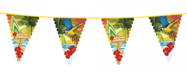 Riesen-Wimpelkette Beachparty Hawaii, 6 Meter