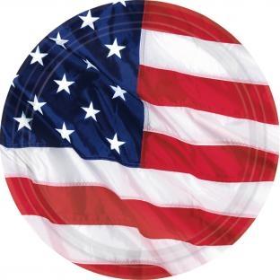 Kleine Pappteller USA, 17,8 cm