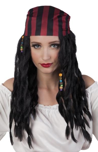 Perücke Schöne Piratin mit Kopftuch