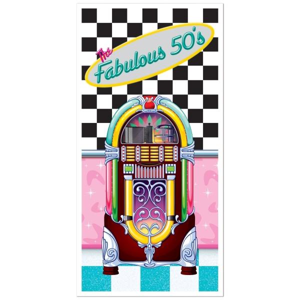 Tür-Dekofolie Jukebox - 50er Jahre Mottoparty Deko