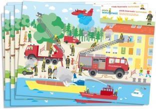Platz-Sets Feuerwehr, 6er Pack je 38cm x 27cm groß