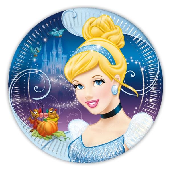 Pappteller Cinderella , 23cm, 8er Pack