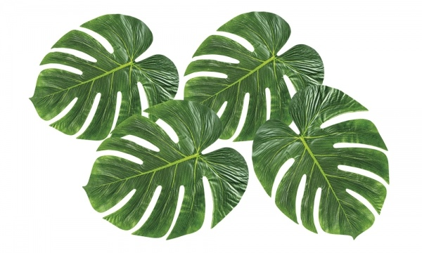Deko Palmenblätter, 4er Set - Hawaii Beachparty Dekoration