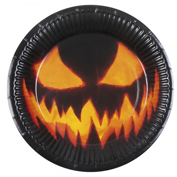 Pappteller Spooky Pumpkin - Horror Tischdeko