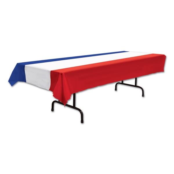 Plastik-Tischdecke Rot-Weiß-Blau - Laenderparty Tischdeko