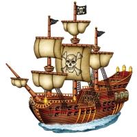 Cutout Piratenschiff, 79 cm - Piratendeko