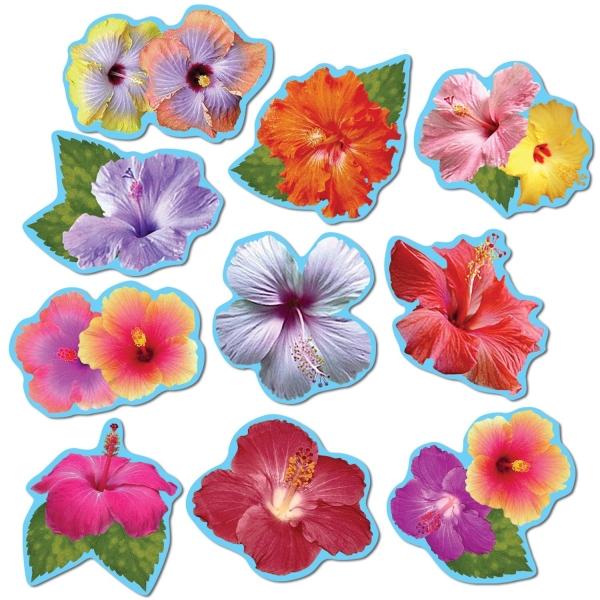 Mini-Cutout SetHibiscus Blüten, 10er Pack - Beachparty Deko
