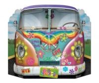 Party-Extra Riesen Pappaufsteller Hippie Bus, 70er Jahre Flower Power Deko
