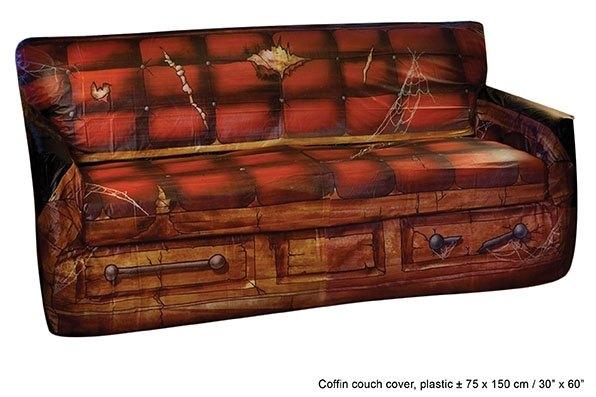 Party-Extra Gruselparty Sofa-Dekofolie im Sarg-Design, coole Halloween Deko.
