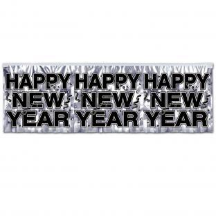 Glamour Banner Silver Happy New Year - Silvesterdeko