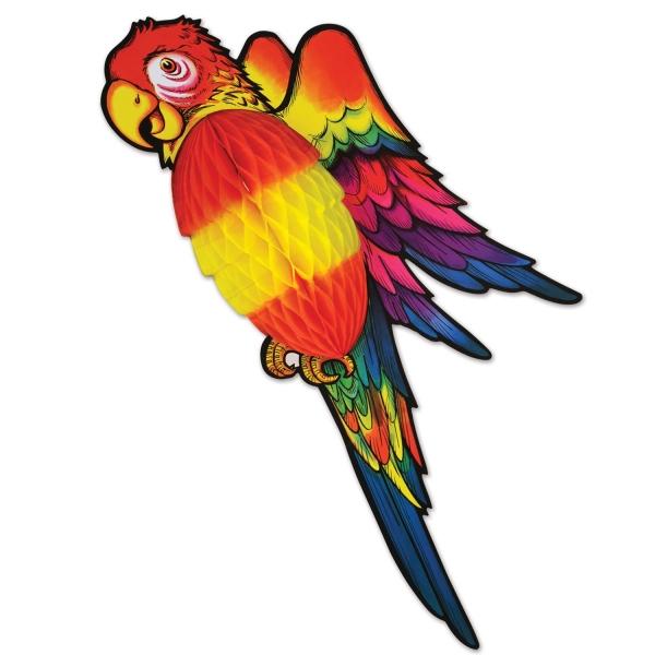 XL-Wabenpapier Deko-Papagei, 76 cm - Dschungel Deko