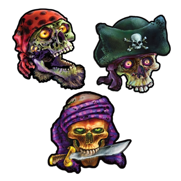 Party-Extra Cutout Set Gruselige Piraten-TZombies, 3er Pack