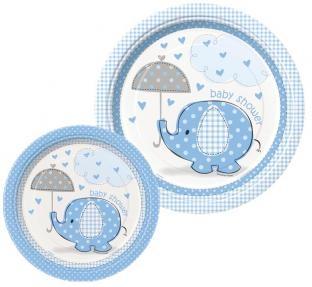 Pappteller Babyfant, hellblau, 8er Pack