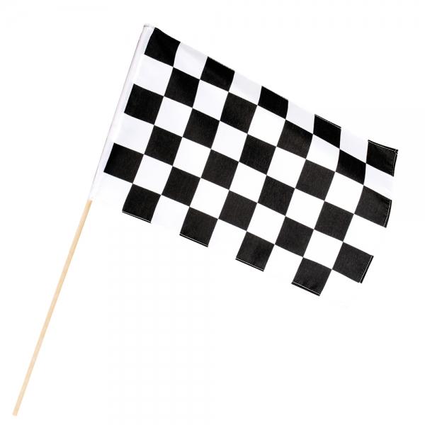 Zielflagge am Stab - Motorsport Deko