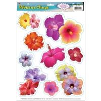 Party-Extra Folien-Aufkleber Hibiscus Blüten