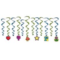 Deko-Spiralhänger 8-Bit Icons Videospiel, 12er Pack
