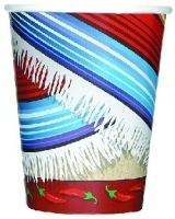 Pappbecher Mexikanischer Poncho, 12er Pack, 270 ml