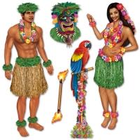 Party-Extra Dekofolie Beachparty Polynesiebn, 4-teilig