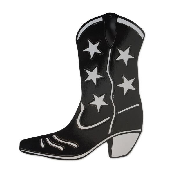 Folien Cutout Cowboystiefel schwarz-silber - Westernparty Deko