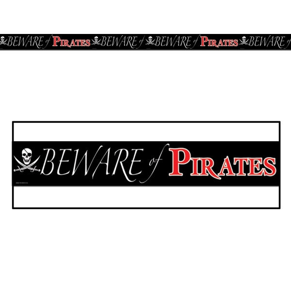 Absperrband Beware of Pirates - Piraten Deko