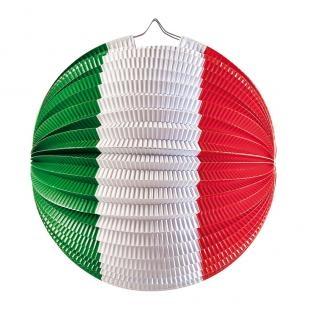Lampion, rot/weiß/grün, 23 cm Durchmesser