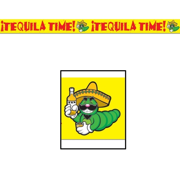 Absperrband Tequila Time! 6 m lang, 7,5 cm hoch