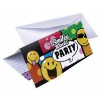 6'er Pack Einladungskarten Smiley mit Umschlägen