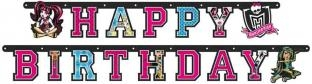 Happy Birthday-Girlande Monster High, 1,80m lang