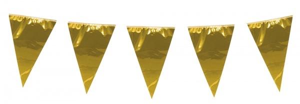 Riesen Metallic Wmpelkette gold, 10 Meter lang