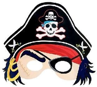 Papiermaske Piratenkapitän, 25 x 20 cm