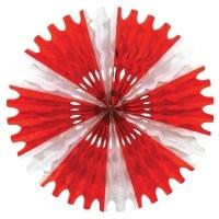 Party-Extra Dekofächer Stern, rot-weiß, 63 cm