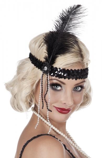 Flapper-Stirnband, schwarz - 20er Jahre Deko