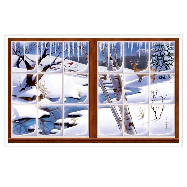 Party-Extra Dekofolie Fensterausblick Schneelandschaft