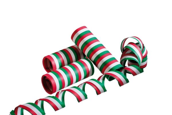 Luftschlangen rot-weiß-grün, 3er Pack je 4m lang